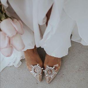 Clear Embellished Princess Mule Heels